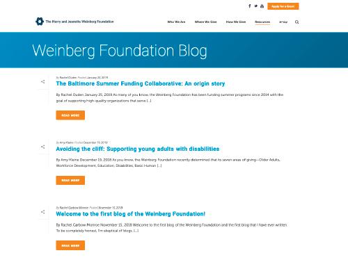 Weinberg Foundation Blog